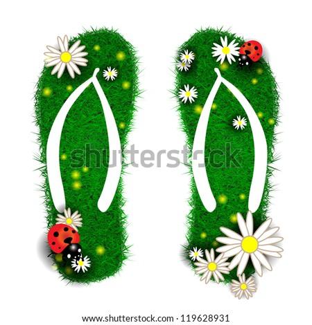 Flip-flops made of grass