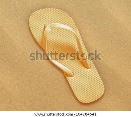 flip flops on the beach sand, Summer back concept.