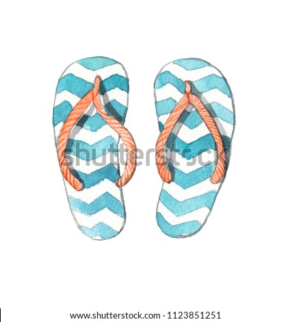 5cb3ff520 Flip-flops watercolor on white background