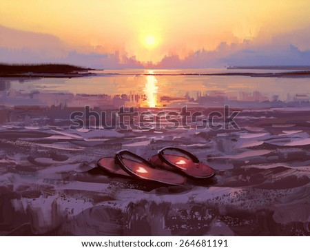 flip flops with lovely hearts on the beach at sunset,digital painting,illustration