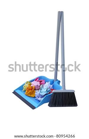 Flip lock dust pan lobby broom with trash paper