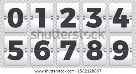 Flip numbers counter. Old mechanical countdown flips, retro scoreboard number sign and numeric counters. Score board indicator, old clock timer numbers isolated  symbols set