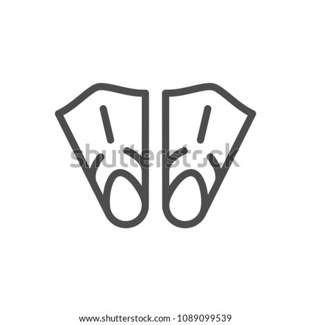 Flippers line icon isolated on white