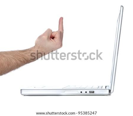 Flipping a Laptop computer the bird