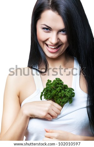 flirting woman with parsley in top on white background