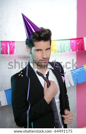 Flirty young party man seductive gesture view facing camera