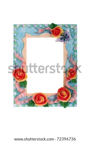 Floaral frame. Photo frame with roses isolated on white.