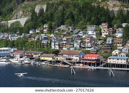 Float Plane landing in Ketchikan Alaska