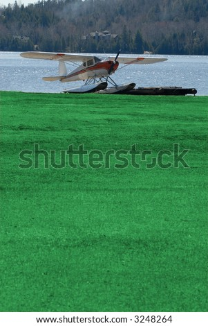 Float Plane Pulled Up On The Grass With A Lake In The Background, Vertical  Framing With Copyspace