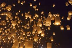 Float Yi Peng Lantern Festival in Chiang Mai in Thailand.