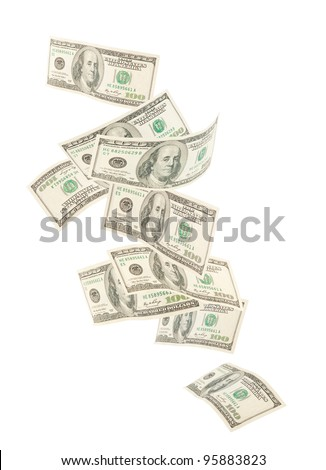 Floating American hundred notes isolated on white background