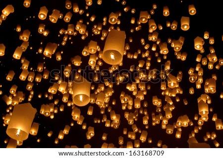 Floating asian lanterns in ChiangMai ,Thailand