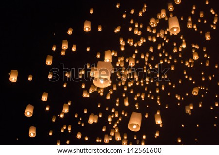 Floating asian lanterns in Yee-Peng festival ,Chiang Mai Thailan