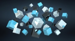 Floating blue shiny cube network 3D rendering on dark background