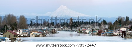 Floating Boat Houses Along Columbia River Gorge and Mount Hood Panorama