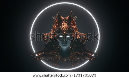 Floating bust of beautiful pale-faced vampire girl with white eyes, wears bronze helmet on dark scene with fog glowing futuristic circle. Medieval female knight. 3d render creative cover fantasy world