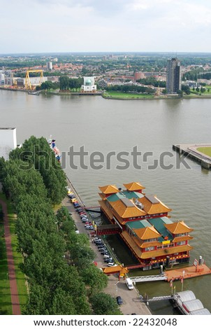 Floating chinese restaurant in Rotterdam