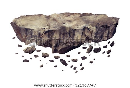Floating crumbling rock Isolated on a white background