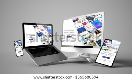 floating devices mockup with website builder design 3d rendering