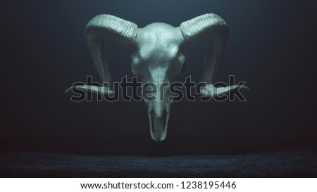 Floating Evil Silver Ram Skull Spirit in a foggy void 3d Illustration  Stock photo ©
