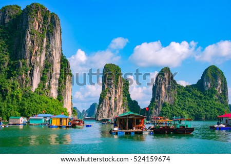Floating fishing village and rock island in Halong Bay, Vietnam, Southeast Asia. UNESCO World Heritage Site. Junk boat cruise to Ha Long Bay. Landscape. Popular landmark, famous destination of Vietnam