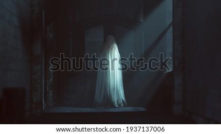 Floating Ghost Evil Spirit Looking Over Her Shoulder in a Derelict Asylum Hospital 3d Illustration Foto stock ©