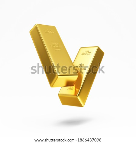 Floating Golden Bars on white background. 3d Rendering Foto d'archivio ©