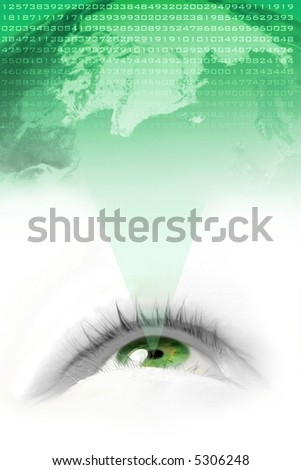 floating green eye projecting the environmental world and it's numbers