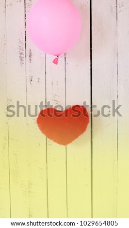 floating hearts with balloons wood background #1029654805