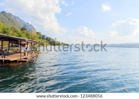Floating house on the Vajiralongkorn Dam at Kanjanburi, Thailand
