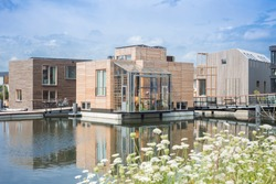 Floating houses Amsterdam, Netherlands. An innovative housing project, called