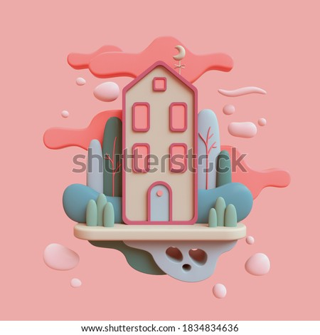 Floating island in air. Cute green cozy Eco House with bushes, tall trees, red clouds. Stay Home. Modern cartoon house with windows, blue door. Spring mood. Hello summer. 3d render in pastel colors.