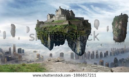 Floating islands above city skyscrapers. Castle floating in the sky. Fantasy landscape 3d illustration. Foto d'archivio ©