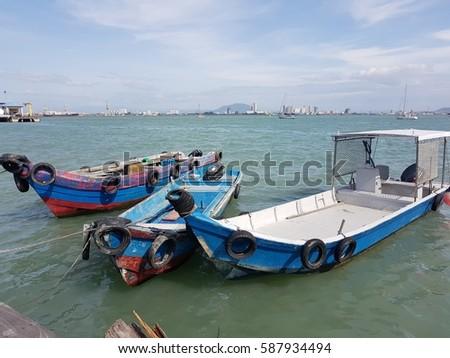 Floating Jetty Boats  #587934494