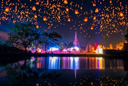 Floating lamp and krathong lantern in yee peng festival at Ayutthaya Historical Park Thailand at Ayutthaya World Heritage Fair. Ayutthaya Historical Park was declared a UNESCO World Heritage Site.
