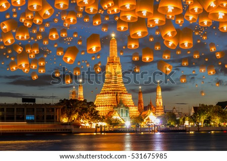 Floating lamp in yee peng festival under loy krathong day at wat arun, Bangkok, Thailand