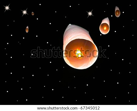 Floating lantern and night star background