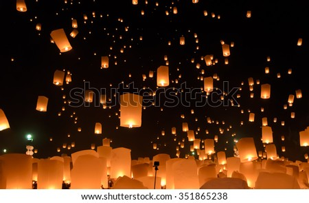 Floating lanterns ceremony or Yeepeng ceremony, traditional Lanna Buddhist ceremony in Chiang Mai, Thailand