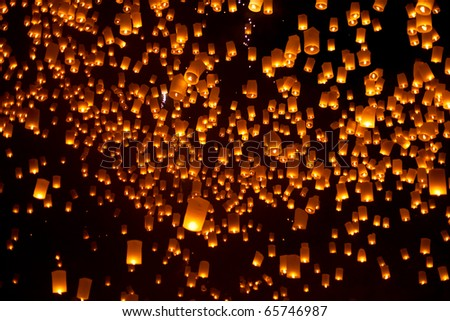 Floating Lanterns during Firework Festival in Thailand