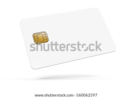 floating left tilt blank chip card, which can be designed in any way, isolated white background, 3d rendering Stock fotó ©