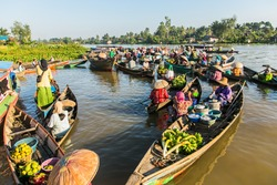 Floating market in Borneo, kalimantan where dealer sell fruit and vegetables