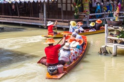Floating Market in Pattaya, Thailand in a summer day