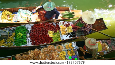 Floating market of Damnoen Saduak, Tha�¯land