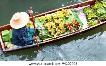 Floating market,Woodenboats,Thailand