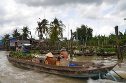 Floating markets at Chau Doc in the Mekong Delta Vietnam