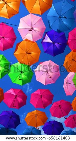 Floating Multicolored umbrellas in the city of  Lens, PAS DE CALAIS , HAUTS DE FRANCE, FRANCE  #658161403