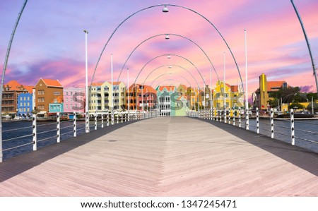 Floating pantoon bridge in Willemstad, Curacao #1347245471