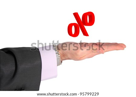 floating per cent symbol above open hand