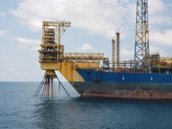 Floating production storage and offloading (FPSO) vessel, oil and gas industry. View from ship