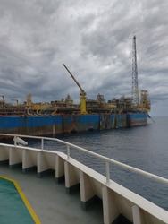 Floating production storage and offloading (FPSO) vessel, oil and gas indutry. View from ship